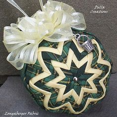 """Quilted Longaberger Fabric Ornament w/Charm - 2.5"""", Traditions Plaid Fabric, Yellow Trim & Bow and Sterling Silver Measuring Basket Charm"""