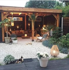 Stunning Exterior Patio Layout Concepts - This patio design collection offers beautiful suggestions on just how to expertly offer your backyard patio garden modern 45 Backyard Patio Ideas That Will Amaze & Inspire You - Pictures of Patios Backyard Patio Designs, Pergola Patio, Pavers Patio, Cozy Backyard, Pea Gravel Patio, Backyard Retreat, Pebble Patio, Pergola Kits, No Grass Backyard