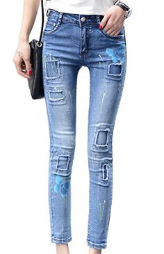 353a2d8e8c Chickle Women s Cotton Print Ripped Stretch Ankle Skinny Jeans US 16W Blue  at Amazon Women s Jeans store