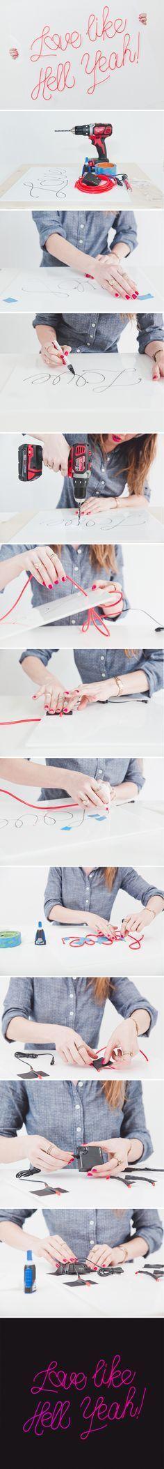 diy neon sign el wire tutorial steps