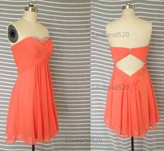 Coral Chiffon Summer Dress Short Open Back Formal by Loveand520