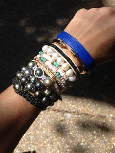 pearl. love. Tahitian pearl and leather bracelets + Vita Fede + CFS/ME Awareness bracelet