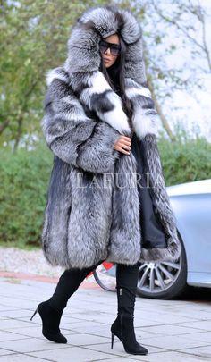 PLATINUM FOX FUR COAT HOOD CLAS CHINCHILLA RUSSIAN SABLE MINK SILVER JACKET LONG | eBay