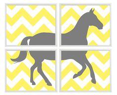 Horse Wall Art Print Set Of 4 8x10 - Chevron Gray Yellow Decor - Pony Children Kid Girl Boy Room - Cowboy Equestrian Wall Art Home Decor