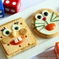 Toonwiches :$ ^_^ Cute Food, Good Food, Yummy Food, Healthy Food, Baby Food Recipes, Snack Recipes, Snacks, Food Art For Kids, Food Carving