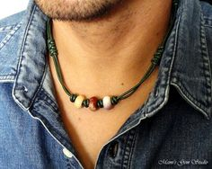 Green Leather and Gemstone Tribal Style Necklace for Men, Mens Choker | Mamis_Gem_Studio - Jewelry on ArtFire