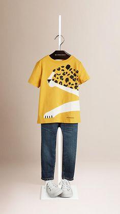 Amber yellow Cheetah Graphic Cotton T-shirt - Image 1