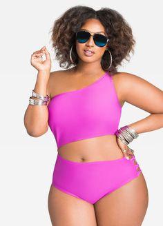 Plus Size Asymmetrical Swimsuit