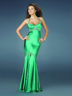 Vestido De Noche de Satén Elástico de Sirena de Hasta suelo de Escote Halter Con Cristal at pickedlook.com