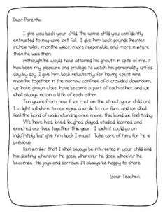 End Of The Year Goodbye Letter To Parents From Teacher  Teaching