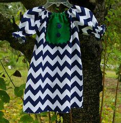 Fall Children Girl Izzy Bib Chevron Dress navy chevron green baby toddler girl children From Mudan 12m, 18m,  2t, 3t, 4t, 5t. $33.00, via Etsy.