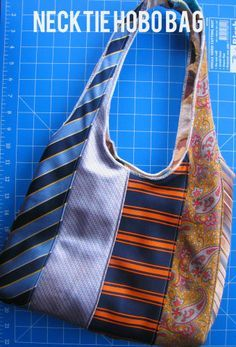 Sew & Serge a Neck Tie Hobo Bag  What a great idea for old ties.