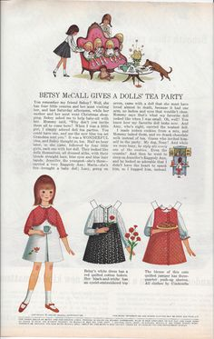 1965 Betsy McCall Magazine Paper Dolls  Betsy by VictorianWardrobe, $4.00