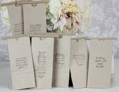 Wedding Favor Bags Kraft Paper Candy Cookies Popcorn Coffee Dessert Bar Love Quotes SET OF 100. , via Etsy.