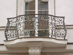 French doors and wrought iron Juliet balcony House Balcony Design, Balcony Railing Design, Juliet Balcony, Balcon Juliette, Wrought Iron Stair Railing, Railings, French Balcony, Paris Balcony, Iron Balcony