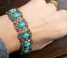 Vintage Ornate Lacey Faux Turquoise Silver Tone bracelet by Scentedlingerie