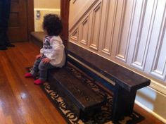 Hallway nesting shoe changing bench by LKWoodenthings on Etsy, $80.00
