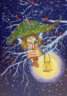 Virpi Pekkala Flower Fairies, Small Paintings, Doodle Drawings, Whimsical Art, Cute Illustration, Christmas Pictures, Christmas Greetings, Painted Rocks, Illustrators