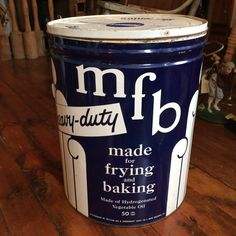 Vintage MFB Vegitable Oil Tin, Made For Frying And Baking, Heavy Duty, Large Tin, Melvo, Durkee's, Shortening by PaintedLadyAntiques on Etsy
