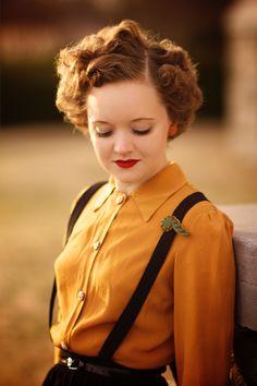 1940s Mustard Blouse