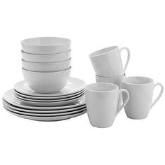 Lakeland Value Dinner Set are simple, white, coordinating, porcelain pieces. The set of 16 includes four individual place settings. Plates, bowls & mugs are included. Dinner Sets, Christmas 2016, Plates, Mugs, Tableware, Bowls, Kitchen, Porcelain Dinnerware, Decor