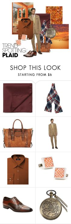 Subtle plaid by maria-kuroshchepova on Polyvore featuring Chaps, Wall + Water, Topman, Skinny Tie Madness, Cufflinks, Inc., Sole Society, men's fashion, menswear, contestentry and NYFWPlaid
