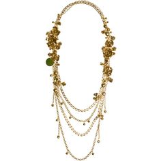 ELIE SAAB Long Multichain Metal Flower Necklace ($795) ❤ liked on Polyvore