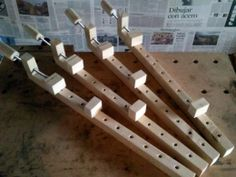 Wooden Clamps - Homemade woodworking clamps constructed from lumber, dowel, and threaded rod.