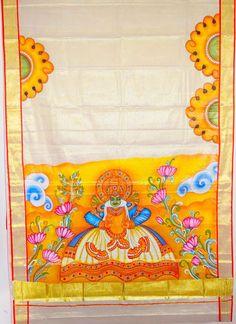 Design your dreams. Saree Painting, Kerala Mural Painting, Tanjore Painting, Fabric Painting, Hand Painted Sarees, Fabric Paint Designs, Indian Folk Art, Mural Art, Tribal Art