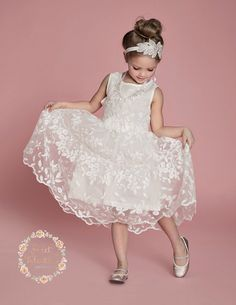 Gorgeous White Lace Dress white flower girl door SweetValentina