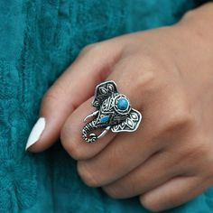 Cute Elephant, Teal Green, Gemstone Rings, Pretty, Silver, Jewelry, Bijoux, Jewlery, Jewels