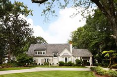 White country house with neutral front door in Farrow and Ball's Stony Brick tiled roof Front Door Paint Colors, Painted Front Doors, Paint Colors For Home, Dark Brown Walls, Front Door Planters, Best Front Doors, Exterior House Colors, Exterior Paint, Ship Lap Walls