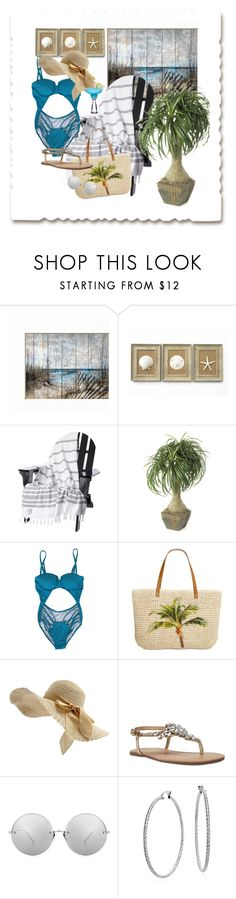 """""""Beauty at the Beach"""" by omearascottagecharm ❤ liked on Polyvore featuring interior, interiors, interior design, home, home decor, interior decorating, Style & Co., Nine West, Linda Farrow and Blue Nile"""