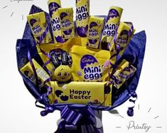 Cadburys Mini eggs Easter Egg Chocolate Bouquet | Etsy Mini Egg Easter Egg, Mini Eggs, Sweet Hampers, Gift Hampers, Easter Gift, Easter Crafts, Sweet Trees, Get Well Gifts, Chocolate Bouquet