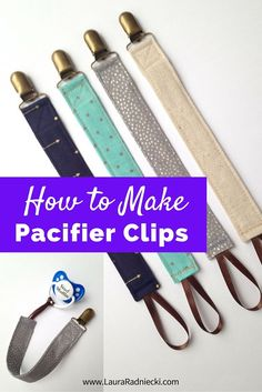 How to Make a Pacifier Clip | A fun and easy tutorial for making classy pacifier clips for baby. Use any type of fabric, and coordinate them with your baby's outfits. They make great baby shower gifts too. If your little one isn't using a pacifier, you can attach a teething ring to the end as another variation. Keep those pacifiers and teethers off the floor with a cute and convenient pacifier holder! Pacifier clips diy, pacifier clips pattern, pacifier clips tutorial.