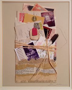 """Remnants.""Collaged vintage papers and ephemera. From Salon de Refuse Studio, artist Rita McNamara. 11X14, matted."
