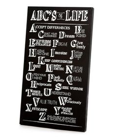 Black & White 'ABC's of Life' Wall Art