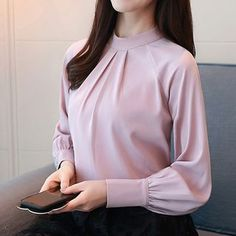 Buy women Blouse is now available in the color White. Shirt Blouses, Shirts, Ladies Fashion, Womens Fashion, Chiffon, Street Style, Lady, Sleeve, Color