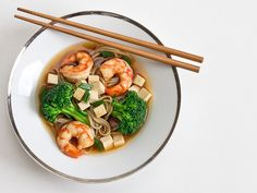 Gojee - Soba Noodle Miso Soup with Broccoli, Shrimp and Tofu  by Wishful Chef
