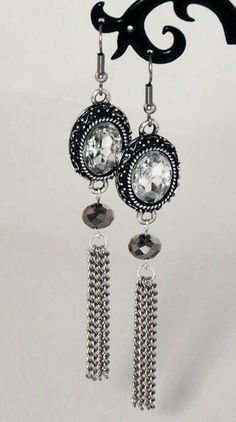 Pinners get 10% off from my Etsy shop! Use the code PIN10 at checkout. Check out these #earrings in my Etsy shop https://www.etsy.com/listing/191130578/victorian-vintage-style-crystal-chain