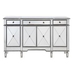 The Mirrored Three Drawer, Four Door Console will instantly add a bit of glitz and glamour to your home. Perfect for adding to your living room or bedroom, the console provides ample interior storage space and a wide display area. | eBay!
