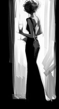 wonderful sketch of elegant lady in black dress