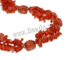 Collar de cadena suéter de Coral, Coral natural, con aleación de zinc, latón cierre de anillo de primavera, naranja rojizo, 6-12mm, Vendido para aproximado 24 Inch Sarta,Abalorios de joyería por mayor de China
