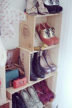 another pretty box shoe storage idea