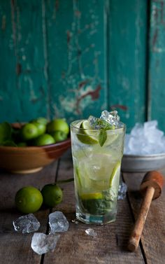 [ Recipe: Basil Mojito ] Made with: sugar syrup, lime, white rum, basil leaves, soda water, and lime to garnish. ~ from Drizzle and Drip