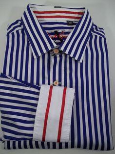 "ROBERT GRAHAM Blue Stripe Flip Cuff Shirt ""Knowledge Truth Wisdom"" SIZE 2 XL  #RobertGraham #ButtonFront"
