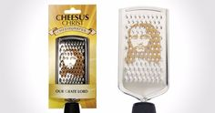 Halleluja! Endlich ein Produkt für fromme Christen: Cheesus Christ, die Käsereibe ist hier für knapp 10 € zu haben The Cheesus Christ Grater is a tongue-in-cheek handy cheese grater, perfect for adding those final cheesy garnishes to pasta or salad. Handily sized for use at the table, the Cheesus Christ Grater adds a touch of [ ]