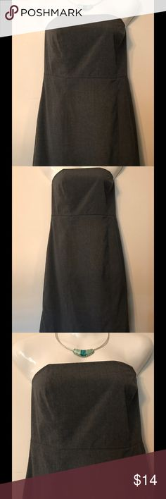 """GAP Dark Gray Strapless Casual Dress GAP dark gray strapless dress. Length is approx 29"""". 64% polyester, 34% rayon, 2% lycra. Size 8. Very good condition. Clean, non-smoking home. GAP Dresses Strapless"""