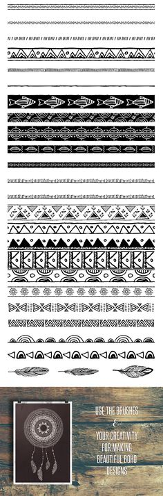 50 Boho Tribal Gypsy Brushes - https://www.designcuts.com/product/50-boho-tribal-gypsy-brushes/
