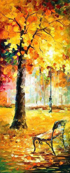Park - oil painting by Leonid Afremov by Leonidafremov.deviantart.com on @DeviantArt